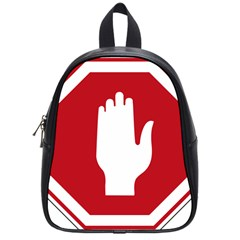 Road Sign Stop Hand Finger School Bags (small)  by Alisyart