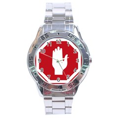 Road Sign Stop Hand Finger Stainless Steel Analogue Watch by Alisyart