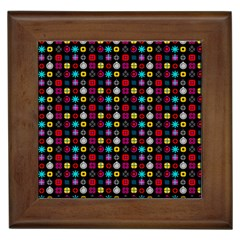 N Pattern Holiday Gift Star Snow Framed Tiles by Alisyart