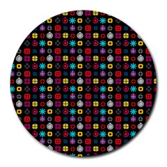 N Pattern Holiday Gift Star Snow Round Mousepads by Alisyart