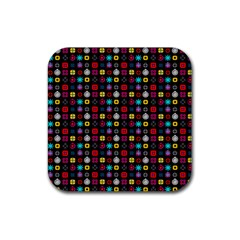 N Pattern Holiday Gift Star Snow Rubber Square Coaster (4 Pack)  by Alisyart