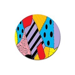 Sally s Patchwork Pattern Magnet 3  (round) by Alisyart