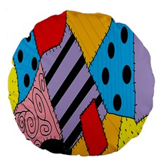 Sally s Patchwork Pattern Large 18  Premium Flano Round Cushions by Alisyart