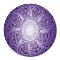 Purple Background With Artwork Round Mousepads by Alisyart