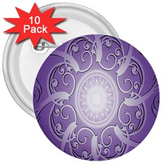 Purple Background With Artwork 3  Buttons (10 Pack)  by Alisyart