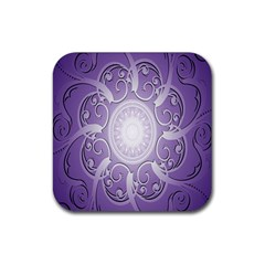 Purple Background With Artwork Rubber Square Coaster (4 Pack)  by Alisyart