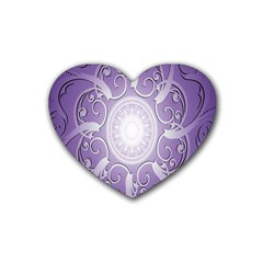 Purple Background With Artwork Rubber Coaster (heart)  by Alisyart