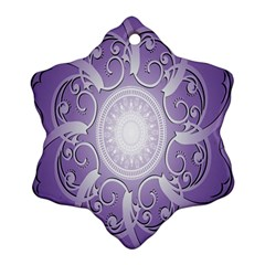 Purple Background With Artwork Snowflake Ornament (two Sides) by Alisyart