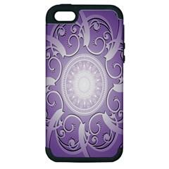 Purple Background With Artwork Apple Iphone 5 Hardshell Case (pc+silicone) by Alisyart