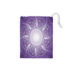 Purple Background With Artwork Drawstring Pouches (small)  by Alisyart