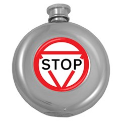 Stop Sign Round Hip Flask (5 Oz) by Alisyart