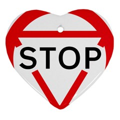 Stop Sign Heart Ornament (two Sides) by Alisyart