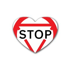 Stop Sign Rubber Coaster (heart)  by Alisyart