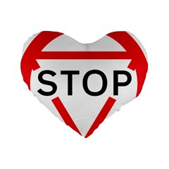Stop Sign Standard 16  Premium Heart Shape Cushions by Alisyart