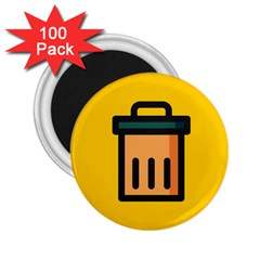 Trash Bin Icon Yellow 2 25  Magnets (100 Pack)  by Alisyart