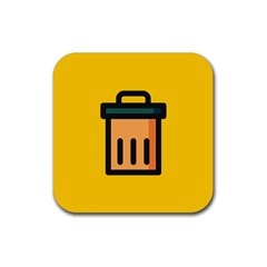 Trash Bin Icon Yellow Rubber Coaster (square)  by Alisyart
