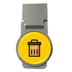 Trash Bin Icon Yellow Money Clips (round)  by Alisyart