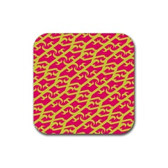 Typeface Variety Postcards Unique Illustration Yellow Red Rubber Coaster (square)  by Alisyart