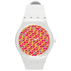 Typeface Variety Postcards Unique Illustration Yellow Red Round Plastic Sport Watch (m) by Alisyart