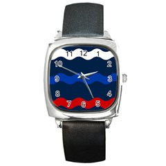 Wave Line Waves Blue White Red Flag Square Metal Watch by Alisyart