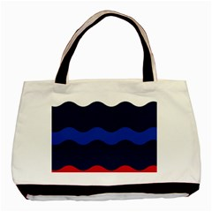 Wave Line Waves Blue White Red Flag Basic Tote Bag by Alisyart