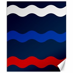 Wave Line Waves Blue White Red Flag Canvas 8  X 10  by Alisyart