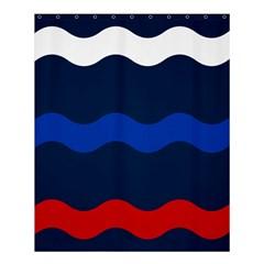 Wave Line Waves Blue White Red Flag Shower Curtain 60  X 72  (medium)  by Alisyart