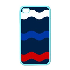 Wave Line Waves Blue White Red Flag Apple Iphone 4 Case (color) by Alisyart