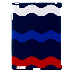 Wave Line Waves Blue White Red Flag Apple Ipad 3/4 Hardshell Case (compatible With Smart Cover) by Alisyart