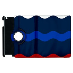 Wave Line Waves Blue White Red Flag Apple Ipad 2 Flip 360 Case by Alisyart