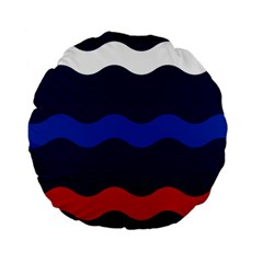 Wave Line Waves Blue White Red Flag Standard 15  Premium Flano Round Cushions by Alisyart