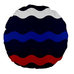 Wave Line Waves Blue White Red Flag Large 18  Premium Flano Round Cushions by Alisyart