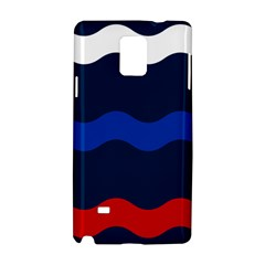 Wave Line Waves Blue White Red Flag Samsung Galaxy Note 4 Hardshell Case by Alisyart