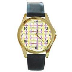 Webbing Plaid Color Round Gold Metal Watch by Alisyart