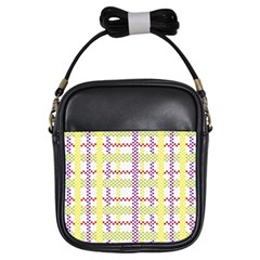 Webbing Plaid Color Girls Sling Bags