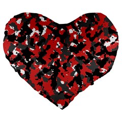Spot Camuflase Red Black Large 19  Premium Heart Shape Cushions by Alisyart