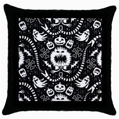 Wrapping Paper Nightmare Monster Sinister Helloween Ghost Throw Pillow Case (black) by Alisyart