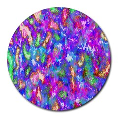 Abstract Trippy Bright Sky Space Round Mousepads by Simbadda
