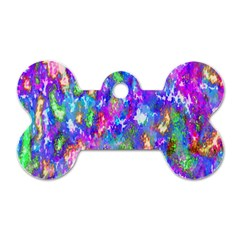 Abstract Trippy Bright Sky Space Dog Tag Bone (two Sides) by Simbadda
