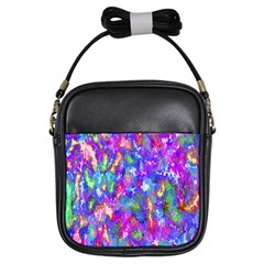 Abstract Trippy Bright Sky Space Girls Sling Bags by Simbadda
