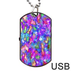 Abstract Trippy Bright Sky Space Dog Tag Usb Flash (one Side) by Simbadda