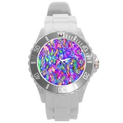 Abstract Trippy Bright Sky Space Round Plastic Sport Watch (l) by Simbadda