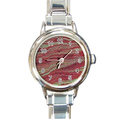 Scaly Pattern Colour Green Pink Round Italian Charm Watch by Alisyart
