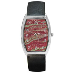 Scaly Pattern Colour Green Pink Barrel Style Metal Watch by Alisyart