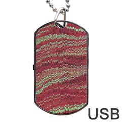Scaly Pattern Colour Green Pink Dog Tag Usb Flash (two Sides) by Alisyart
