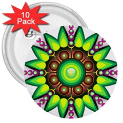 Design Elements Star Flower Floral Circle 3  Buttons (10 Pack)  by Alisyart
