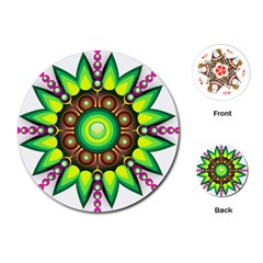 Design Elements Star Flower Floral Circle Playing Cards (round)  by Alisyart