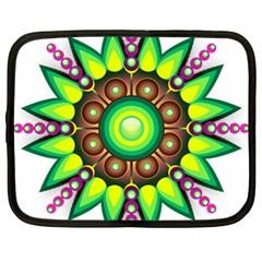 Design Elements Star Flower Floral Circle Netbook Case (large) by Alisyart