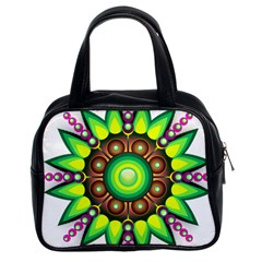 Design Elements Star Flower Floral Circle Classic Handbags (2 Sides) by Alisyart