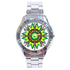 Design Elements Star Flower Floral Circle Stainless Steel Analogue Watch by Alisyart